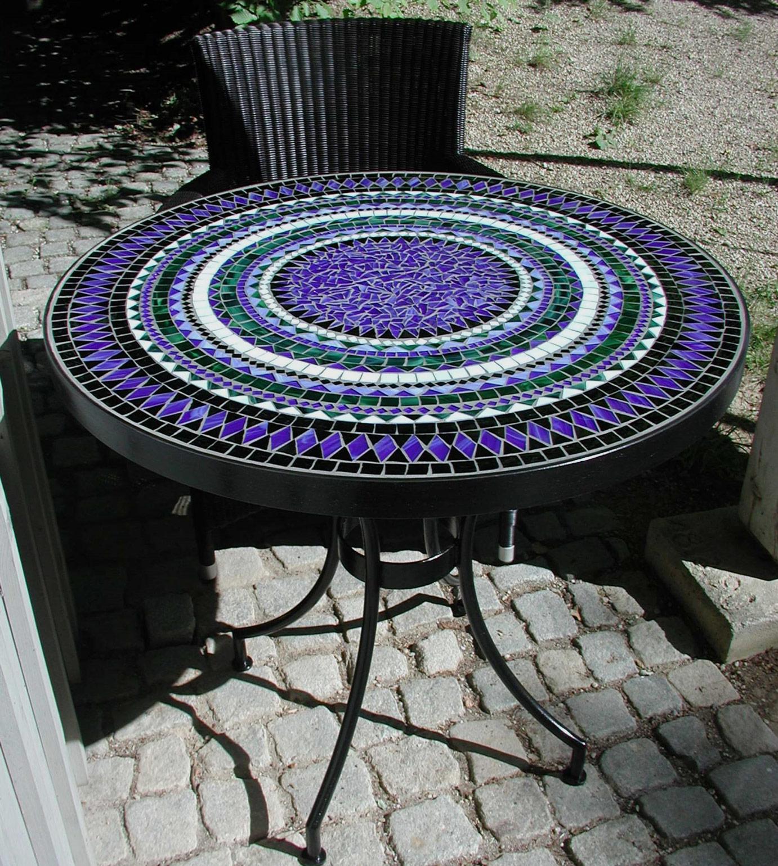 Runder Mosaiktisch - blau (Nr. P1010019-2)